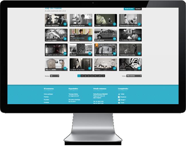 Diseño web, listado videos